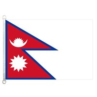 Wholesale Nepal Fabric - Good Flag Nepal Flags Banner 3X5FT-90x150cm 100% Polyester country flags, 110gsm Warp Knitted Fabric Outdoor Flag