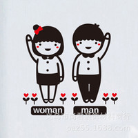 Wholesale Decals For Tablets - woman man carton phone lovers K08 Home removable pc laptop tablet pvc adesivo de parede Room Decor Decals vinyl Wall Sticker