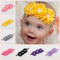 Wholesale Child Hairbands Pearls - 20 colors Baby Girls Kids 3 Chiffon Flower Headbands Decor with 3 Pearls Newborn Infant Children Hair Accessories Flower Hairbands KHA394