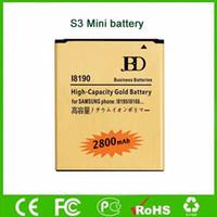 batería para galaxy ace al por mayor-2800mAh batería de oro para Samsung Galaxy Ace 2X S3Mini Duos GT-I8190 GT-S7560M batería móvil de alta capacidad de la fábrica directa al por mayor