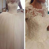 Wholesale Transparent Bodice Wedding Dress - 2016 Ball Gown Lace Wedding Dresses Sheer Bodice Long Transparent Sleeve Beading Sequins Ball Gown Floor Length Bridal Dresses