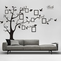 Wholesale Room Decor Wall Stickers Tree - 2015 Free Shipping:Large 200*250Cm 90*120in Black 3D DIY Photo Tree PVC Wall Decals Adhesive Family Wall Stickers Mural Art Home Decor