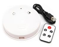 mini cámara dvr detector de movimiento al por mayor-Detector de humo profesional cámara estenopeica DVR con control remoto Detección de movimiento 720 * 480 30fps 2.0MP mini videocámara grabadora de video blanco