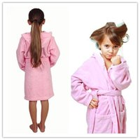 Wholesale Terry Bathrobes Free Shipping - Sold Towel Material Comfortable Cotton Hooded Robe Kids Terry Bathrobe 4size 4 colors available Free Shipping