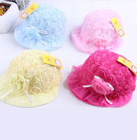 Wholesale Wholesale Toddler Sunhats - toddler hats flowers baby girls princess caps with lace infant bucket hat bowknot baby sunhat 10pcs lot 0-3age