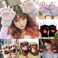 Wholesale gloves cat cosplay online - Women Girls Colors Winter Warm Fluffy Plush Mittens Cat Bear Paw Claw Glove for Party Cosplay