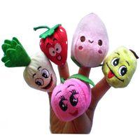 meyve parmak kuklası toptan satış-1000 Adet / grup DHL Fedex Kadife Meyve Sebze Parmak Kuklaları Çocuk Çocuk Oyuncakları parmak Kukla Bebekler Hikaye anlatma Sahne / Araçları