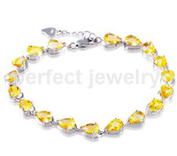 Wholesale Natural Citrine 925 Sterling Silver - Natural citrine chain bracelet Real citrine 925 sterling silver Perfect Jewelry Free shipping Fine yellow gemstone bracelet #DH-15121003