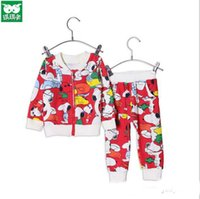 Wholesale Snoopy Suit - 2015 HOT new children two-pice clothes long sleeve coat and leisure pants kids suit snoopy cartoon kids clothing sets