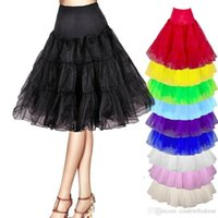 Wholesale Girls Green Petticoat Skirt - Causal 2017 New 2 Layers A Line White Black Girls Underskirt Vintage Women's Rockabilly Petticoat Hot Net Skirt Tutu