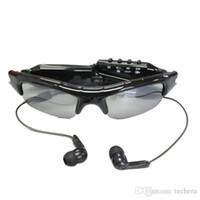reproductor de mp3 cámara grabadora de video al por mayor-Gafas de sol Cámara + Reproductor de MP3 gafas deportivas mini videocámara + Auriculares con Bluetooth Gafas de sol cámara estenopeica mini DVR grabadora de video digital