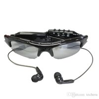 gläser video-player großhandel-Sonnenbrille Kamera + MP3-Player Sport Brille Mini-Camcorder + Bluetooth Headset Sonnenbrille Lochkamera Mini-DVR Digital-Videorekorder