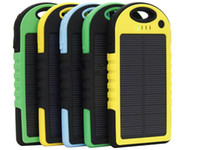 Wholesale Portable Battery Phone Chargers - Best Selling Waterproof Solar Power Bank 5000mAh Portable Solar Charger External Battery Chargers Powerbank for iphone HTC Phone