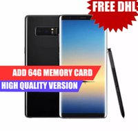 Wholesale Add Heart - Dhl Free Fingerprint Goophone note 8 note8 6.3inch Edge Curved 4G Lte Octa Core 2G Ram 16G Rom Add 64G Card Shown 64G ROM Android 7.0