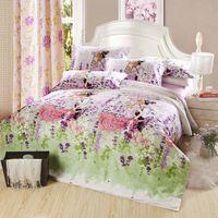 lavanda romntica de amor flor gente cama determinada de tela de algodn tamao queen edredn de la hoja de cama cubierta piezas edredn de ropa de cama