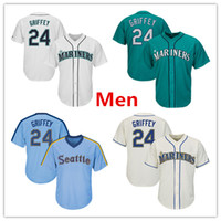 Wholesale flash cotton - Mens Mariners 24 Ken Griffey Jr. Baseball Jersey Cream Aqua Green White Gray Grey Cooperstown All Star Players Weekend Salute to Service