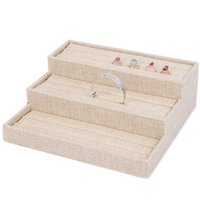 Wholesale wooden earrings studs - Linen Ring Holder Rings Display Stand Earring Storage Rack Fine Ring Stud Tray Jewelry Box Display Stand Props