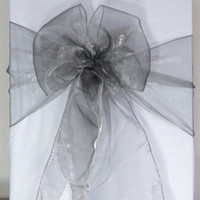 Wholesale Wedding Table Fabric Samples - 100 Gray Organza Chair Sashes Dark Silver Charcoal Crystal Table Sample Fabric wedding Bow Gift -SASH