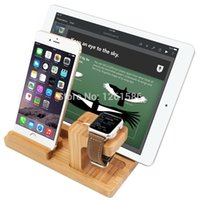 Wholesale Ipad Mini Bamboo - Wholesale-Environmental Bamboo Design For Apple Watch Charging Stand Bracket Docking Station Phone Holder For iPhone&For iPad MINI Air
