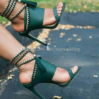 Wholesale Chain Lace Up Sandals - fashion green black African women sandals high heels wedding shoes peep toe high heels shoes for prom party dinner evening
