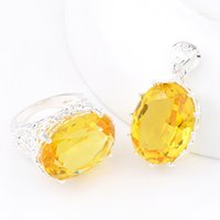 Wholesale Rings Canada - 3 Sets LOT Luckyshine Valentine's Day Gentle Fire Oval Royal Citrine Gems 925 Sterling Silver Plated Russia Canada Weddiing Pendants Rings