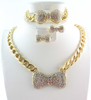 Wholesale Rhinestone Bow Earrings - Fashion Gold Plated Jewelry Sets Chunky Chain Full Rhinestone Bow Necklace Bracelet Earring for Women