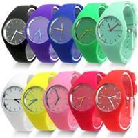 Wholesale Geneva Rubber - 12 colors New Fashion Watch Women Silicone GENEVA candy color Watch For Women Dress Watch Quartz Watches