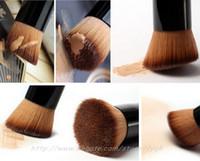parlatıcı krem toptan satış-Vakıf Allık Krem Için tam Özellikli Makyaj Fırça Düz Üst Parlatıcı Vakıf Fırça Temel Aracı Ahşap Saplı