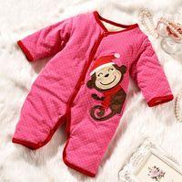 Wholesale Newborn Wadded Jacket Baby - Wholesale-Baby cotton-padded jacket baby wadded jacket thickening newborn bodysuit clothes supplies autumn and winter set winter li