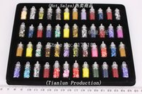 Wholesale Nail Art Set Bottle - Wholesale 48 Bottles Nail Art Sequined Tips Decoration Tool Arcylic Nail Stickers Mixed Design Case Set Women Gift Display Box