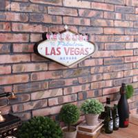 decoração de parede de sinais de metal venda por atacado-Atacado-Las Vegas Decoração Metal Pintura Néon Welcome Signs Led Bar Wall Decor