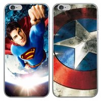 Wholesale Cases For Iphone Superman - Batman Superman Superhero Spiderman Cover Captain American Ironman PC hard Case For iphone 7 7Plus 6 6S 4.7 Plus 5.5 5 5S Cartoon Back Skin