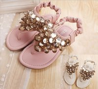Wholesale Wholesale Wind Shoes - 2015 New product Rome wind children shoes beaded sequined girls sandals elastic shoe buckle two colour kids princess sandals 5pair lot GR207