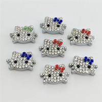 hello kitty charm bracelet toptan satış-20 Adet / grup 8 MM hello kitty Slayt Charms DIY Slde Charms Karışık Renkler Fit 8 MM Bileklik Bilezik veya Kemer Ücretsiz Kargo SC131