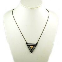 Wholesale El Necklace - Wholesale-Wholesale! Gun Black Geometric Triangel Retro Golden Pyramid Pendant Necklace NL255 el collar
