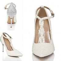 adultos tacones altos al por mayor-Nueva moda Botas de boda Peals Tacones altos Sexy belleza blanca Prom Peep Toe vestido de fiesta por la noche mujeres adultas señora nupcial zapatos formales