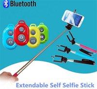 kamerahalterclip großhandel-Erweiterbar Selfie Einbeinstativ Selfie Stick Handheld Einbeinstativ + Clip Halter + Bluetooth Kamera Auslöser Fernbedienung für iPhone Samsung