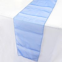"""Wholesale Blue Organza Table Runners - Elegant Royal Blue Dark Blue Organza Table Runners 12""""x108"""" Wedding Party Decoration Table Favor Decor Hot Table Runners CW137"""