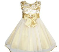Sunny Fashion Flower Girls Dress Bow Tie Champagne Wedding Pageant 2017 Summer Princess Abiti da festa Abbigliamento per bambini Taglia 2-10