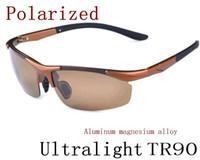 Wholesale Titanium Rimless Glasses Wholesale - 2pcs New Men Polarized Driving SunGlasses Titanium Sun glasses Brand Designer Fashion Oculos Male Sunglasses Semi-Rimless TR90 A-H 8color