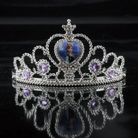 Wholesale Children Crowns Tiaras Plastic - New Arrival Frozen Anna Elsa Tiara Crown Hair Band Sparking Crystal Cubic Zirconia Paved For Children 1704001