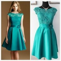 Wholesale Teal Dresses Sleeves - Elegant Real Picture Teal Green Lace and Satin Knee-Length Sheer Crew Cap Sleeve Formal Party Bridesmaid Dresses