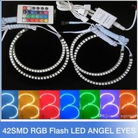 Wholesale Halo Ring E46 - New E36 E38 E39 E46 5050 42SMD RGB Flash SMD LED ANGEL EYES HALO RINGS kit for BMW