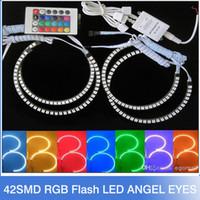 bmw halo toptan satış-Yeni E36 E38 E39 E46 5050 42SMD RGB Flaş SMD LED ANGEL GÖZ HALO RINGS BMW için kiti