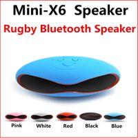 Wholesale Mini Football Speaker For Mp3 - Mini-X6 X6U Speaker Rugby Football Design Blutetooth mini speakers Handsfree Stereo MP3 Player support TF Card Mic FM USB for Sport outdoor