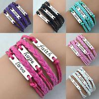 Wholesale Infinity Hope - Antique Charm Bracelets Love Hope Faith Charms Infinity Braided Mix Colors Leather Bracelets Fashion Wrist Jewellery Free Shipping