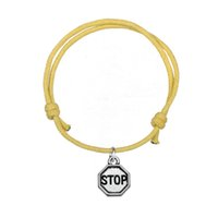 Wholesale Charm Stops - Fashion Wax Cord Bracelet Silver Plated Stop Sign Charm Bracelet Handmade Wristbands High Quality Jewelry For Gift