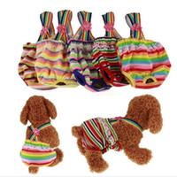 couches extra grandes pour chiens achat en gros de-Pantalon physiologique pour animaux de compagnie Chien de compagnie Pet Chiot Sanitaire Mignon Culotte Courte Diaper Pantalon de sécurité Stripe Underwear PD037