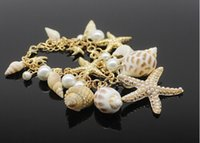 Wholesale Bracelet Seashells - Starfish Charm Bracelets Seashell Conch Pearl Jewelry Vintage Bangle Bracelets 12PCS LOT Free Shipping 2015