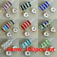 Wholesale 6mm Rhinestone Rondelle - 6MM AAA Metal Silver Plated Crystal Rhinestone Rondelle Spacer Beads 11Colors For Choose 100Pcs Free Shipping Wholesale
